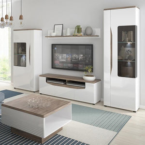 Furniture To Go Toledo 140cm Wide Oak and Gloss White TV Cabinet (4285144)