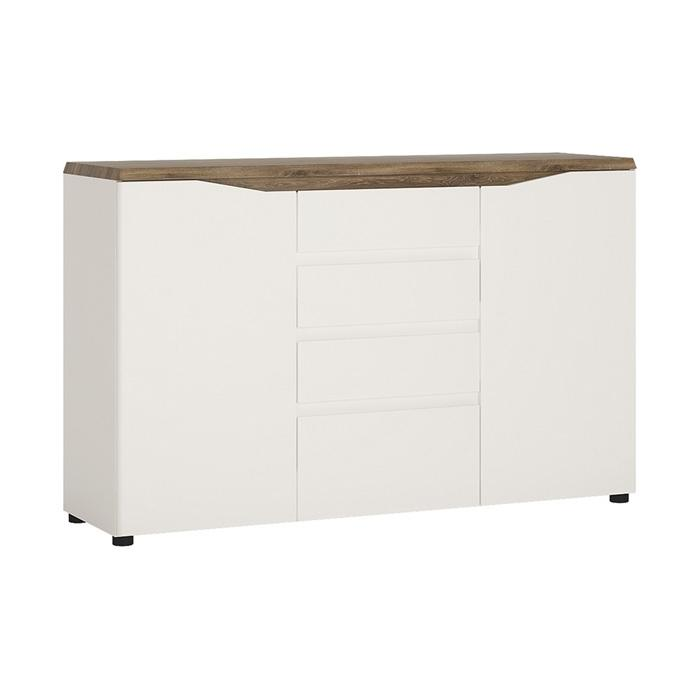 Furniture To Go Toledo 2 Door 4 Drawer 140cm Wide Sideboard in Gloss White and Oak (4284244)