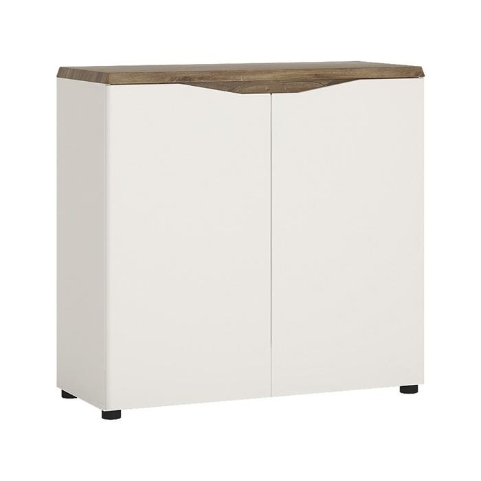 Furniture To Go Toledo 2 Door 91cm Wide Sideboard in Gloss White and Oak (4284144)