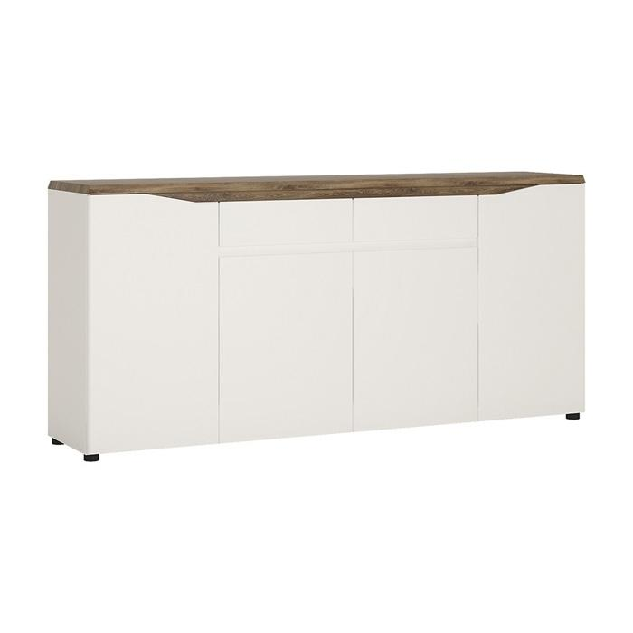 Furniture To Go Toledo 4 Door 2 Drawer 189cm Wide Sideboard in Gloss White and Oak (4284444)