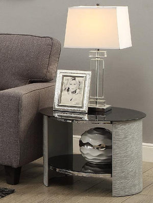 Jual San Marino Curved Grey Ash Round Lamp Table (JF303 GB)