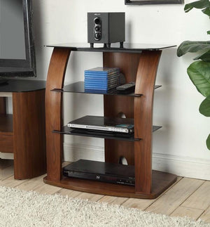 Jual Melbourne JF313 - Curved Walnut AV Stand with Black Glass