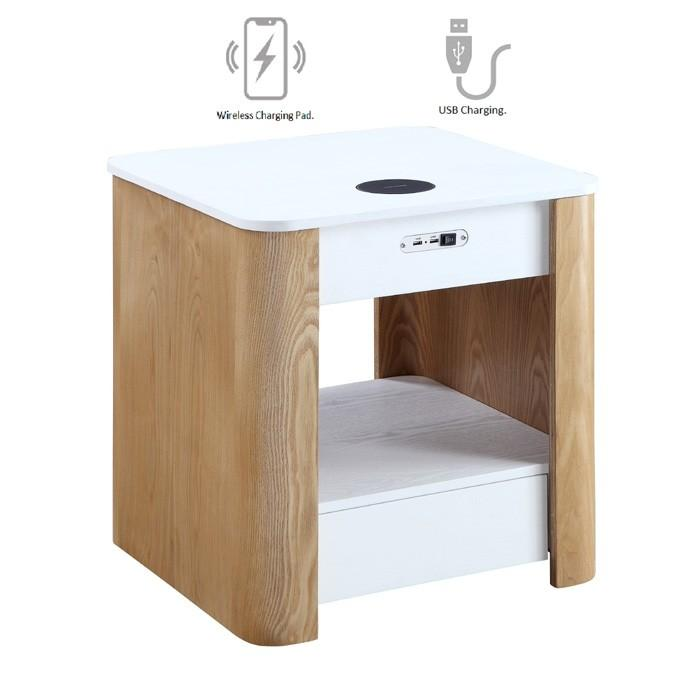 Jual San Francisco Bedside / Lamp Table With Wireless Charging (JF403)