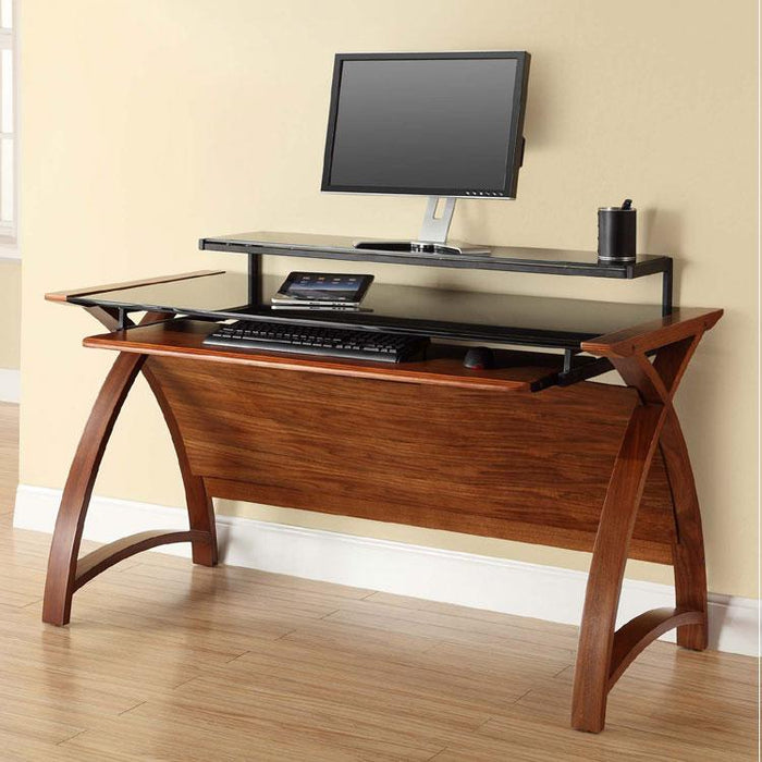 Jual Helsinki Curved 1300mm Wide Computer Desk in Walnut and Black Glass (PC201-1300-WB)