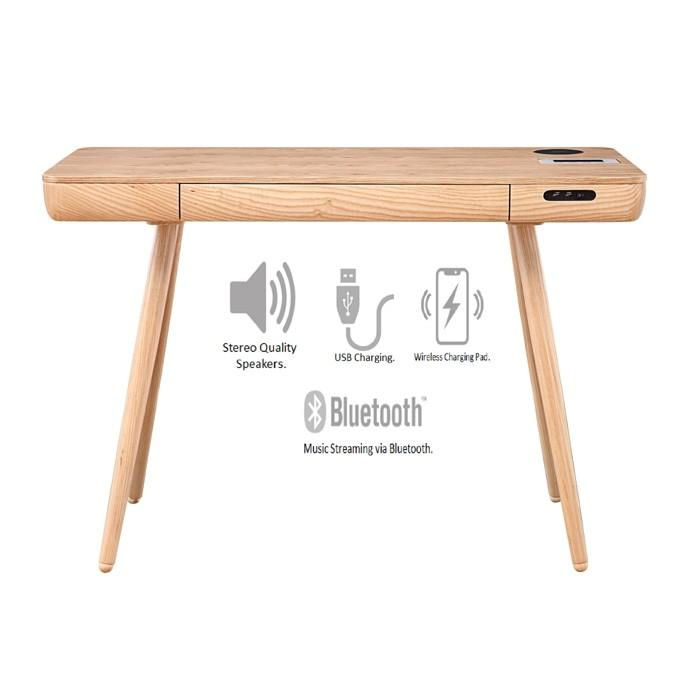 Jual San Francisco 1100mm Wide Smart Oak Desk With Speakers And Wireless Charging (PC709)