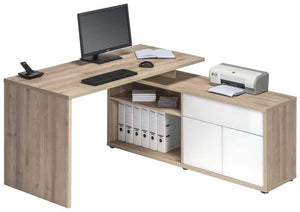 Maja Natural Beech and White Corner Desk (4020 2656)