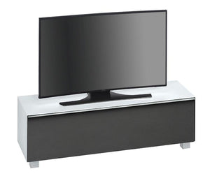 Maja SoundConcept Glass TV Cabinet in White Matt Glass with Black Acoustic Cloth (7736-3673)