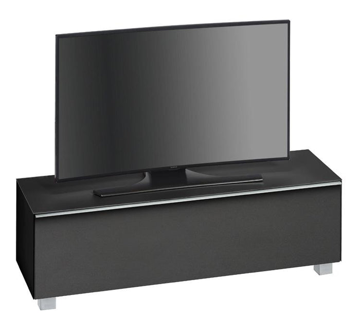 Maja SoundConcept Glass TV Cabinet in Matt Black Glass with Black Acoustic Cloth (7736-4573)