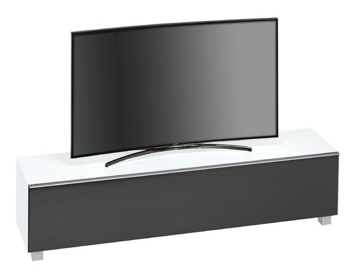 Maja SoundConcept Glass Large TV Cabinet in Matt White Glass with Black Acoustic Cloth (7738-3673)