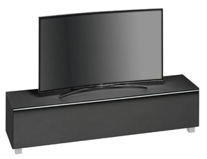 Maja SoundConcept Glass Large TV Cabinet in Matt Black Glass with Black Acoustic Cloth (7738-4573)