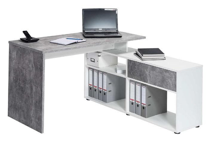 Maja Clifton Office Desk in Concrete and White (4019 9139)