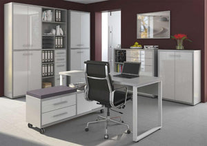 Maja Set+ Tall 4-Door Cupboard in Platinum Grey and White Glass (1685-6346)
