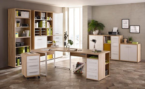 Maja Set+ Low 2-Door Cupboard in Natural Oak and White Glass (1680-2446)