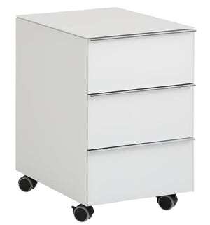 Maja YAS 3-Drawer White Glass Desk Pedestal (1531 9936)