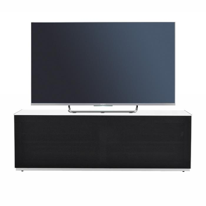 Optimum Project 1300F Enclosed Gloss White TV Cabinet with Fabric Front