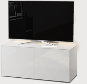 Frank Olsen High Gloss White 1100mm TV Cabinet with LED Lighting and Wireless Phone Charging