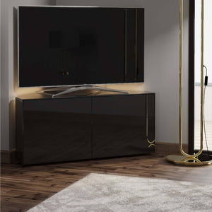Frank Olsen High Gloss Black 1100mm Corner TV Cabinet with LED Lighting and Wireless Phone Charging