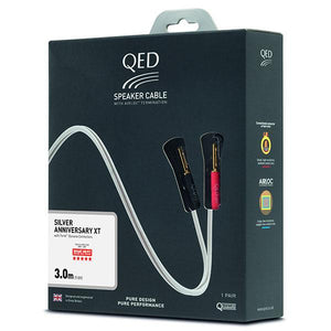 QED Reference Silver Anniversary XT Pair of 3-Metre Speaker Cables Pre-Terminated with QED Airloc Banana Plugs (QE1432)