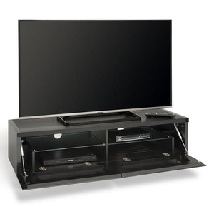 Showroom Sale - Techlink PM120B Panorama Piano Gloss Black and Black Oak Small TV Cabinet (406430)