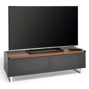 Techlink PM120W Panorama Piano Gloss Black and Walnut Small TV Cabinet (406430)