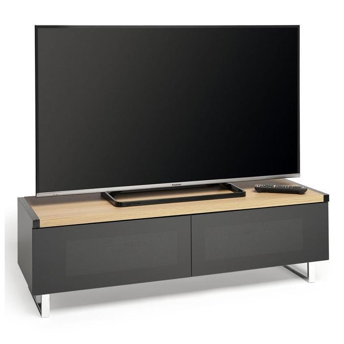 Techlink PM120LO Panorama Piano Gloss Black and Light Oak Small TV Cabinet (406431)
