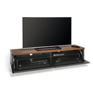 Techlink PM160B Panorama Piano Gloss Black and Black Oak Large TV Cabinet (406428)