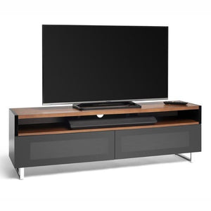 Techlink Panorama PM160+ Walnut and Piano Gloss Black TV Cabinet (406434)
