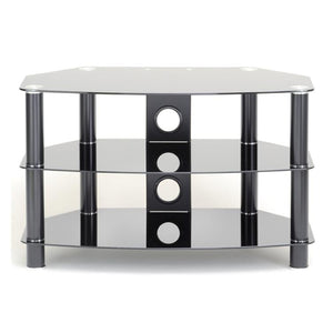 TTAP Vantage 3-Shelf Glass TV Stand in Black and Black Glass (AVS-C303C-1050-3BB)