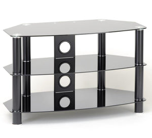 TTAP Vantage 3-Shelf Glass TV Stand in Black and Black Glass (AVS-C303C-1200-3BB)