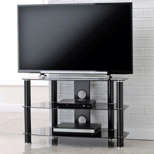 TTAP Vantage 3-Shelf Glass TV Stand in Black and Black Glass (AVS-C303C-800-3BB)