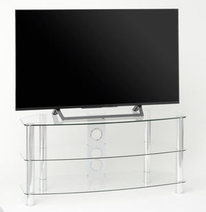 TTAP Vantage 3-Shelf Glass TV Stand in Chrome and Clear Glass (AVS-C303C-1050-3CC)