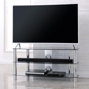 TTAP Vantage 3-Shelf Glass TV Stand in Chrome and Clear Glass (AVS-C303C-1200-3CC)