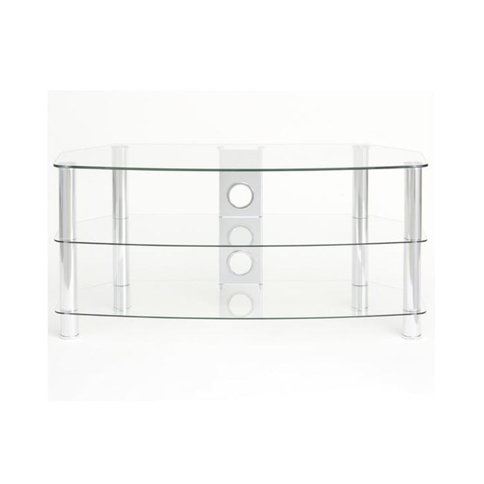 TTAP Vantage 3-Shelf Glass TV Stand in Chrome and Clear Glass (AVS-C303C-800-3CC)