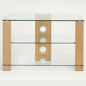 TTAP Vision 3-Shelf Glass TV Stand in Oak and Clear Glass (L630-1050-3OC)