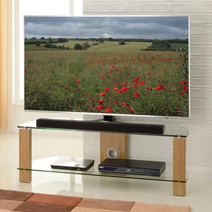 TTAP Vision 2-Shelf Glass TV Stand in Oak and Clear Glass (L630-1200-2OC)
