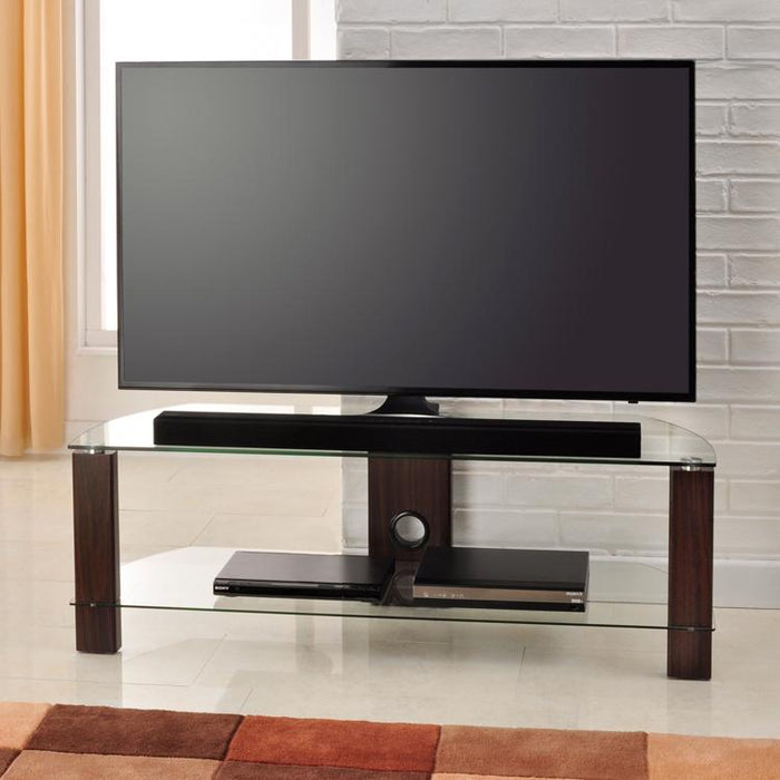 TTAP Vision 2-Shelf Glass TV Stand in Walnut and Clear Glass (L630-1200-2WC)