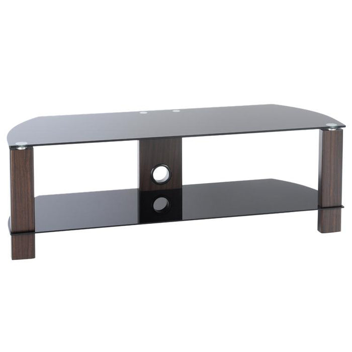 TTAP Vision 2-Shelf Glass TV Stand in Walnut and Black Glass (L630-1200-2WB)
