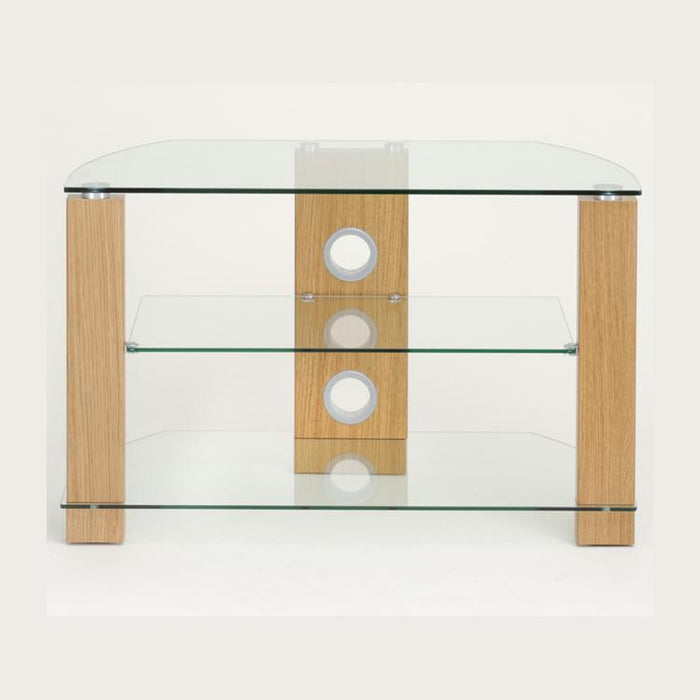 TTAP Vision 3-Shelf Glass TV Stand in Oak and Clear Glass (L630-800-3OC)