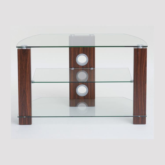 TTAP Vision 3-Shelf Glass TV Stand in Walnut and Clear Glass (L630-800-3WC)