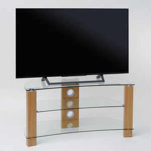 TTAP Vision Curve 3-Shelf Curved Glass TV Stand in Oak and Clear Glass (L640-1000-3OC)