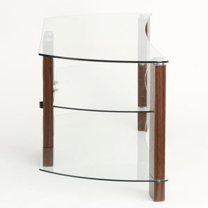 TTAP Vision Curve 3-Shelf Curved Glass TV Stand in Walnut and Clear Glass (L640-1200-3WC)