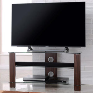 TTAP Vision Curve 3-Shelf Curved Glass TV Stand in Walnut and Clear Glass (L640-1000-3WC)