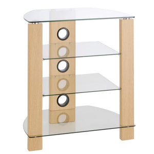 TTAP Vision 4 Shelf Hi-Fi Stand in Oak with Clear Glass (TVS1010)
