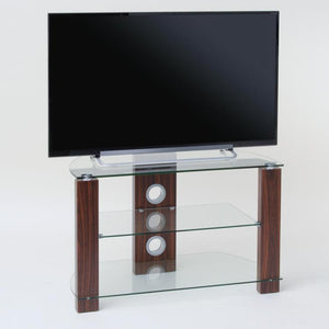 TTAP Vision 3-Shelf Glass TV Stand in Walnut and Clear Glass (L630-1050-3WC)