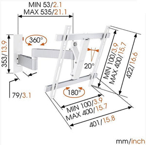Vogels WALL 3245 White Dual Arm TV Wall Bracket for TVs up to 55 inch