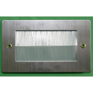 Stainless Steel Brush Wall Plate Double Gang with White Brushes