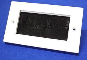 White Plastic Brush Wall Plate Double Gang with Black Brushes