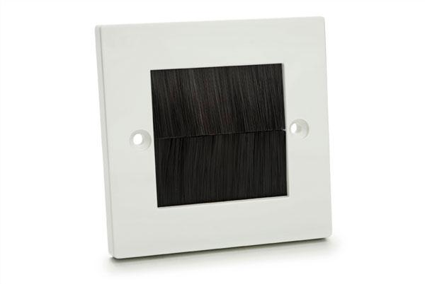 White Plastic Brush Wall Plate Single Gang with Black Brushes