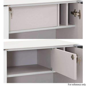 Image showing the concealed lockable multi-function compartment in the top cupboard of the Maja YAS Highboard in White Glass and also shows the pigeon holes on either side