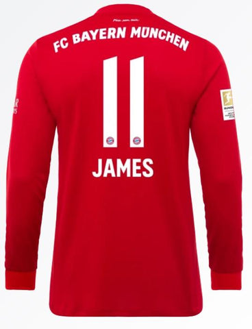 new arrival fb445 1129b James Rodriguez Bayern Munich 19/20 Long Sleeve Home Jersey